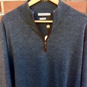 New Peter Millar Merino Wool 1/4 Zip - Lg